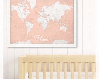 Custom WORLD TO WANDER kids map 50x70cm