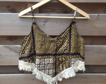 SALE - WOMENS   Bohemian V shaped top with tassels   Size S/M - SALE