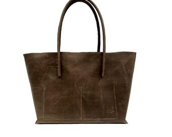Leather bag / shopper in vintage - Brown