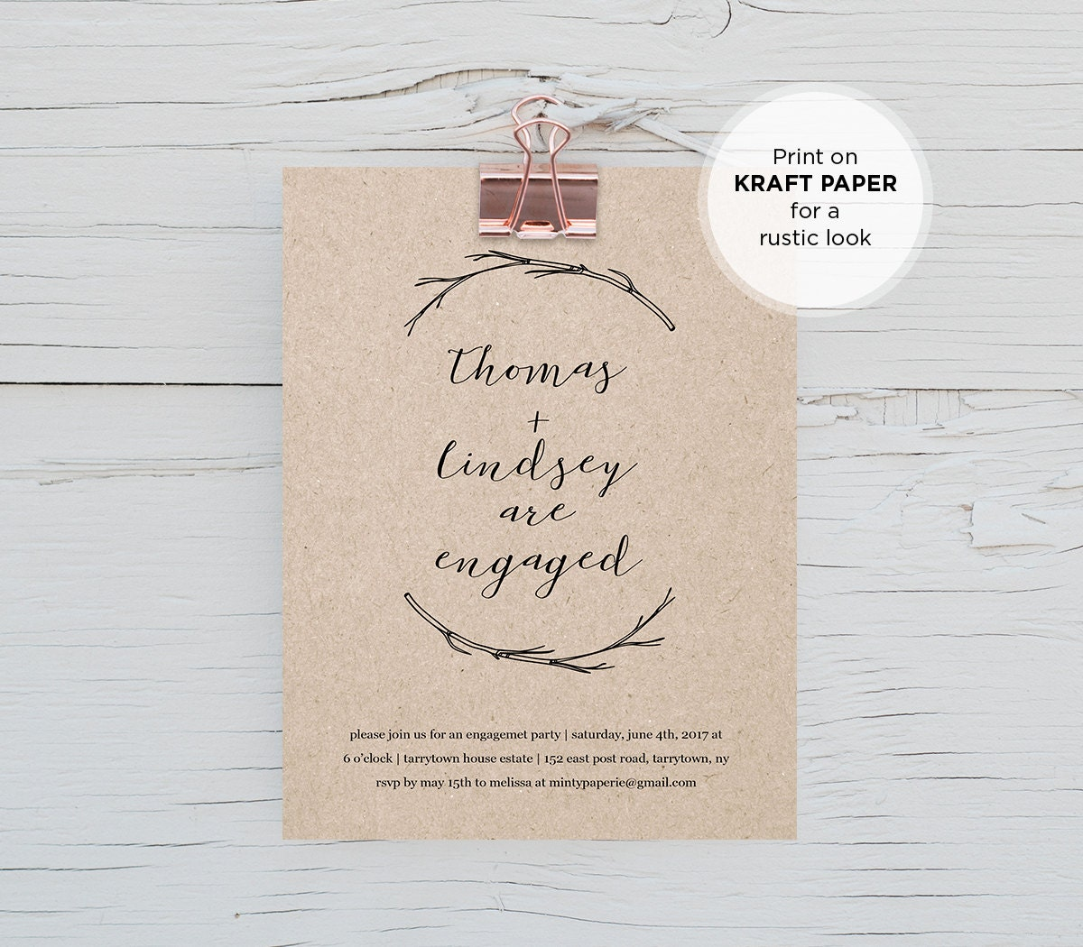 Rustic Engagement Party Invitation Template DIY Printable – Engagement Party Template