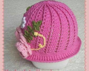 Handmade crochet baby toddler child Panama cloche sun hat. Pink girls flowers beads