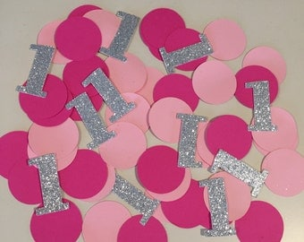 1st Birthday confetti-Custom confetti-Party decorations-pink and silver 1 embellishments-Party table decoration-Personalize confetti