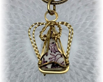 Purple Tonquin China and 14/20 Gold Filled Wire, Wire Wrapped Angel Pendant - #11356