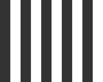 """Riley Blake 1"""" Wide Stripes, White on Black, fabric by the yard"""