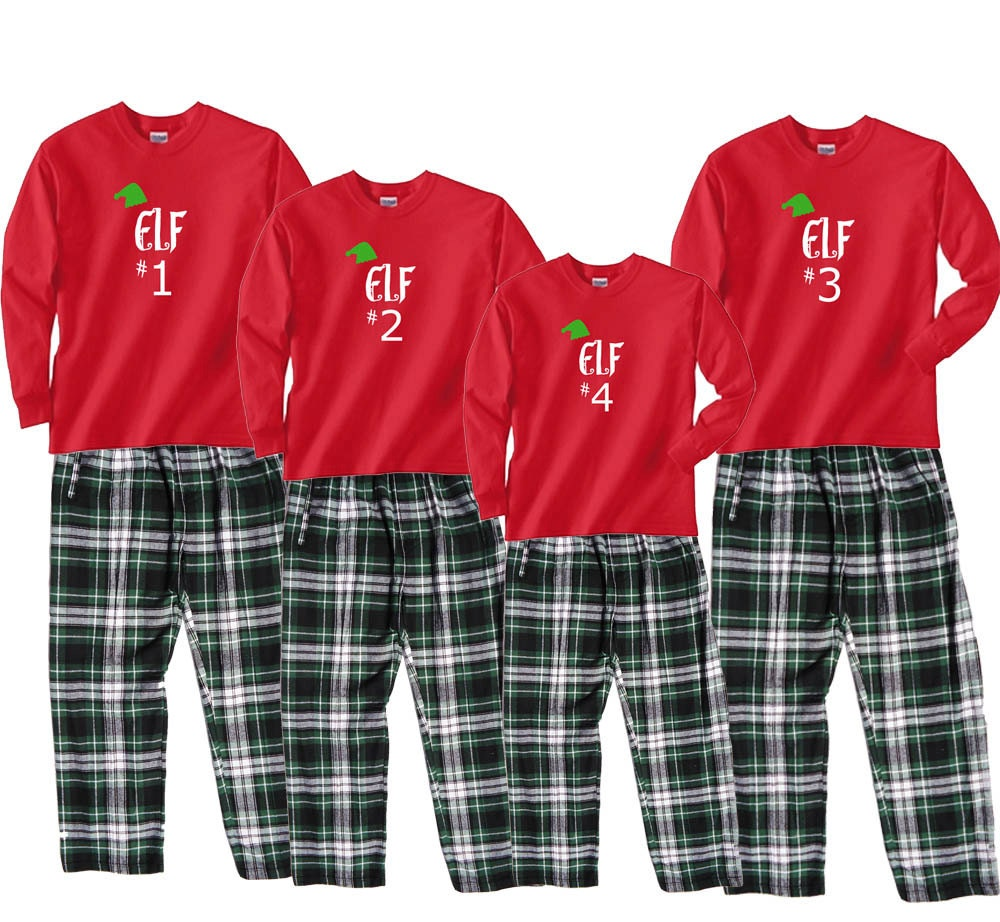 Elf 1 2 3 etc Family Matching Christmas Pajama Pant Sets