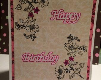 Pink floral birthday card