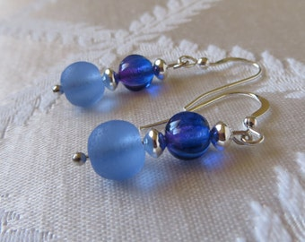 Silver-filled Drop Earrings with Blue Charms, SE-173