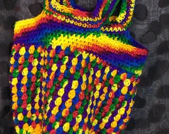 Hand Crochet Market Bag (Rainbow)