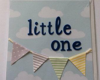 "Handmade card- Little one (baby boy) 6x6"""