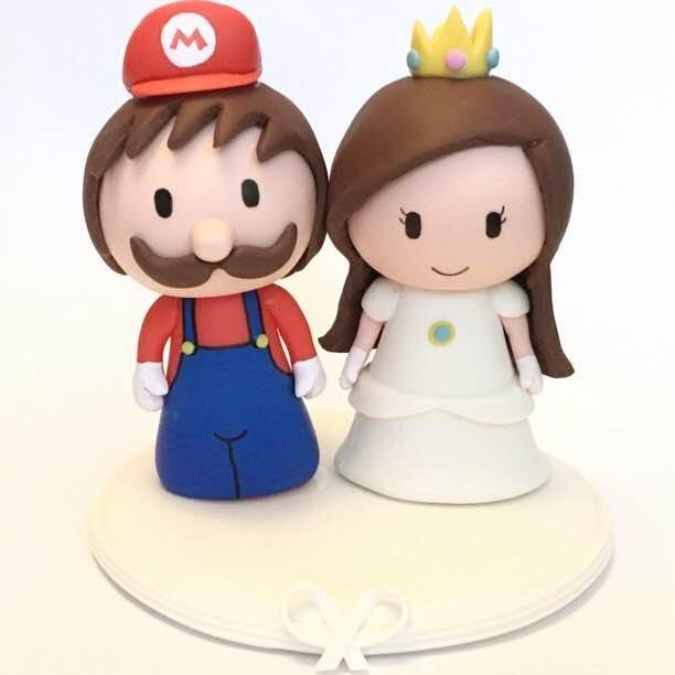 Cute Mario and Peach (Custom) wedding cake topper ...