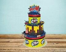 Superhero Baby Shower, Superhero Diaper Cake, Super hero, Superhero shower decorations
