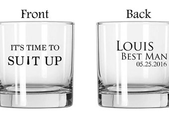 One Single (1) Vinyl Whiskey Glass, Groomsman Gifts, Best Man Glasses, Personalized Whiskey glasses, Whiskey glass, Customized whiskey glass