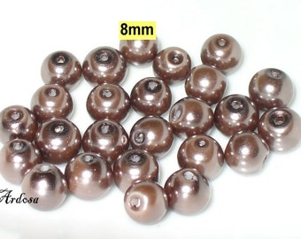 25 glass beads, pearl beads, 6 mm Brown purple (K808. 46)