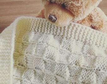Handmade Knitted Baby Blanket - Cream