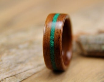 Bentwood Ring - Santos Rosewood with Malachite Inlay- Handcrafted wooden ring