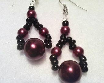 Black and Plum Dangle Earrings