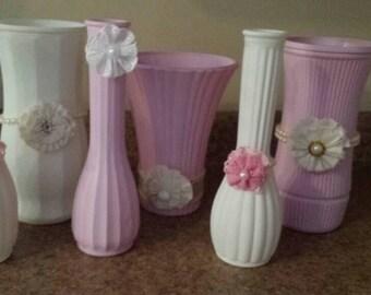 Set of 6 shabby chic vases