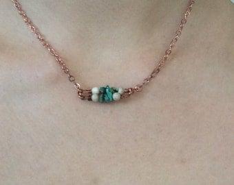 Turquoise Gemini layering necklace- turquoise, copper