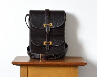 """50% OFF w/COUPON CODE """"NIFTY50"""" - Handsome, Structured, Vintage, Brown, Textured-Leather, Shoulder-Bag"""