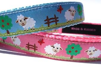 "Cute Lambs Dog Collar (S-M) 3/4"" wide"