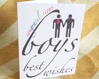 Gay Wedding Card - Congratulations, Boys - Best Wishes - Commitment Ceremony Greeting Card