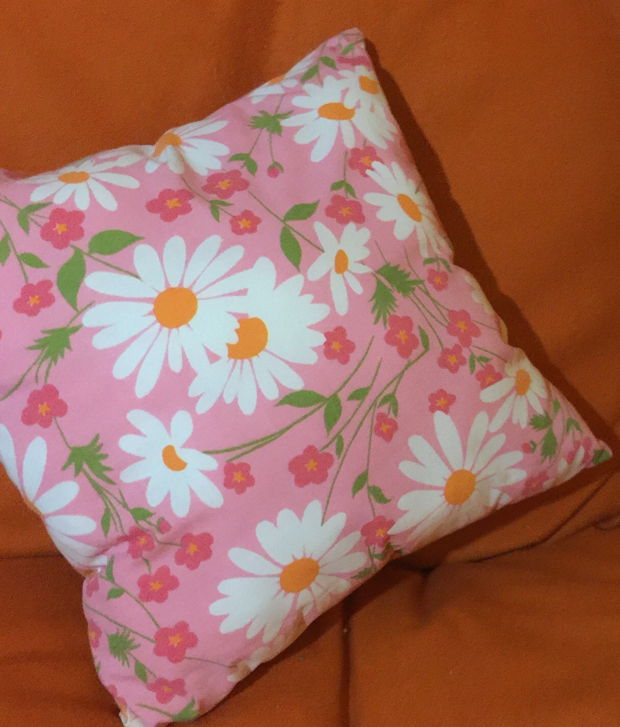 SALE Bright pink & orange double-sided daisy throw pillow / 70s retro decor accent pillow ...