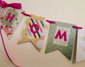Custom Design Handmade Paper Bunting | Home Sweet Home | Shabby Chic | Can be personalised to read any message