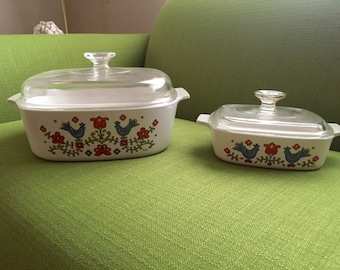 Vintage Corning Ware/Pyrex Country Festival Casserole Dishes with Lid Set of 2