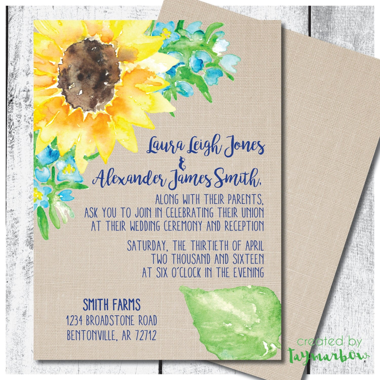 Rustic Sunflower Wedding Invitation Sunflower Wedding