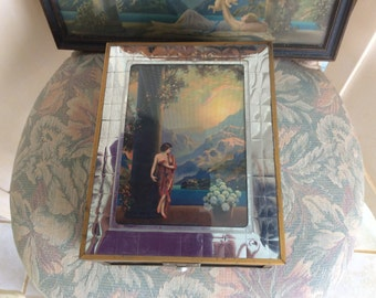 REDUCED! Art Deco Wood Box, Gorgeous Era Print Under Glass on Top and Mirror Inside, Excellent!
