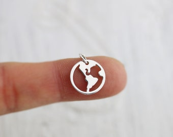 World Necklace - Sterling Silver Whole World Charm Necklace - Globe Pendant - Earth Jewelry - Sterling Silver Earth Charm