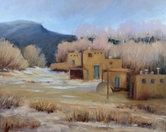 Ancient Dwellings of Taos Pueblo 24wx20h, oil on canvas, unframed.