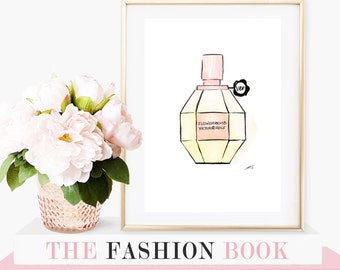 Perfume Bottle, A4 Fashion Illustration Giclee Print - original painting watercolour and ink