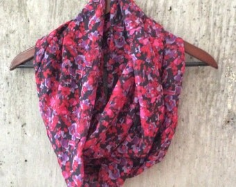 Red and fuscia floral infinity scarf
