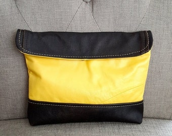 ON SALE Yellow and Brown Leather Clutch