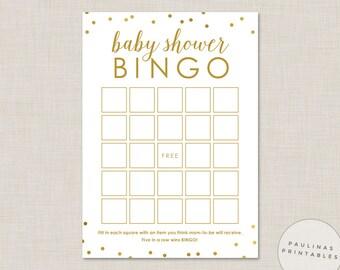 Baby Shower Bingo Game - Printable Shower Game, Bingo Cards, Gold Dots, Baby Shower, Baby Bingo, Baby Shower Games