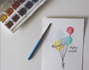 "Watercolour ""Planets"". Watercolor illustration"
