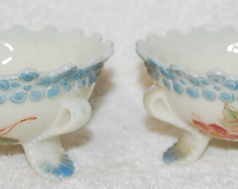 Antique Custard Glass Footed Sherbets---hand painted