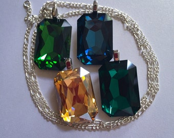 Swarovski Emerald cut foiled crystsl Pendant