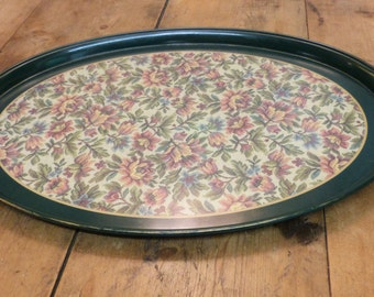 Melamine Tray with tapestry pattern centre - retro tray - vintage tray - green tray (stock#6535)