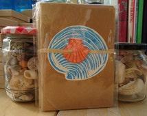 Notebook / Embellished notebook / Sketchbook / Customised notebook - cyprina shell / lino print