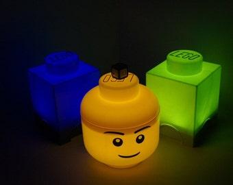 Lego Brick and Head LED night lights