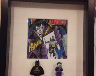 dc the joker and batman figure photo frame with comic style print perfect gift for fans thank you or best man gift etc can be personalised