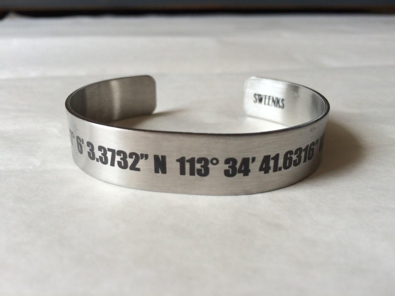 engraved coordinates longitude and latitude gps cuff bracelet