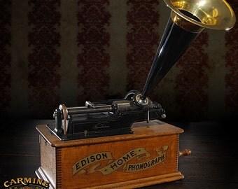 Authentic Vintage Antique Edison Phonograph PLUS Wax Cylinders