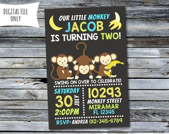 Monkey Invitation / Little Monkey Birthday Invitation (Personalized) Digital Printable File