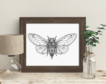 trippy wall art, cicada, black and white art, cool wall art, stippling, unique wall art, pen and ink, bug illustration