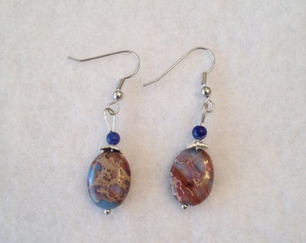 Beige and blue earrings