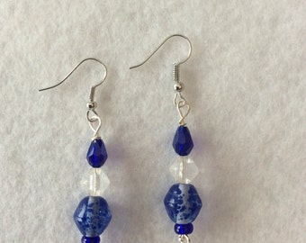 Royal blue speckled earrings