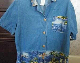 Nina Piccalino Denim Shirt Sz 10 Hawaiian Details